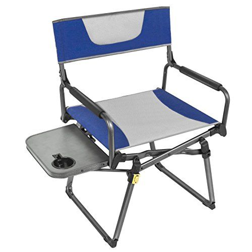 Portal Aluminum Portable Folding Directors Chair With Armrest Table And Cup Holder Blue Details Can Be Found By Cl Directors Chair Chair Pads Folding Chair