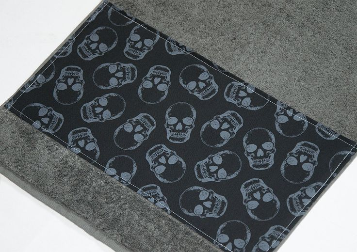 Grey and Black Skulls Bath Towel 38 cm x 70 cm by Pornoromantic