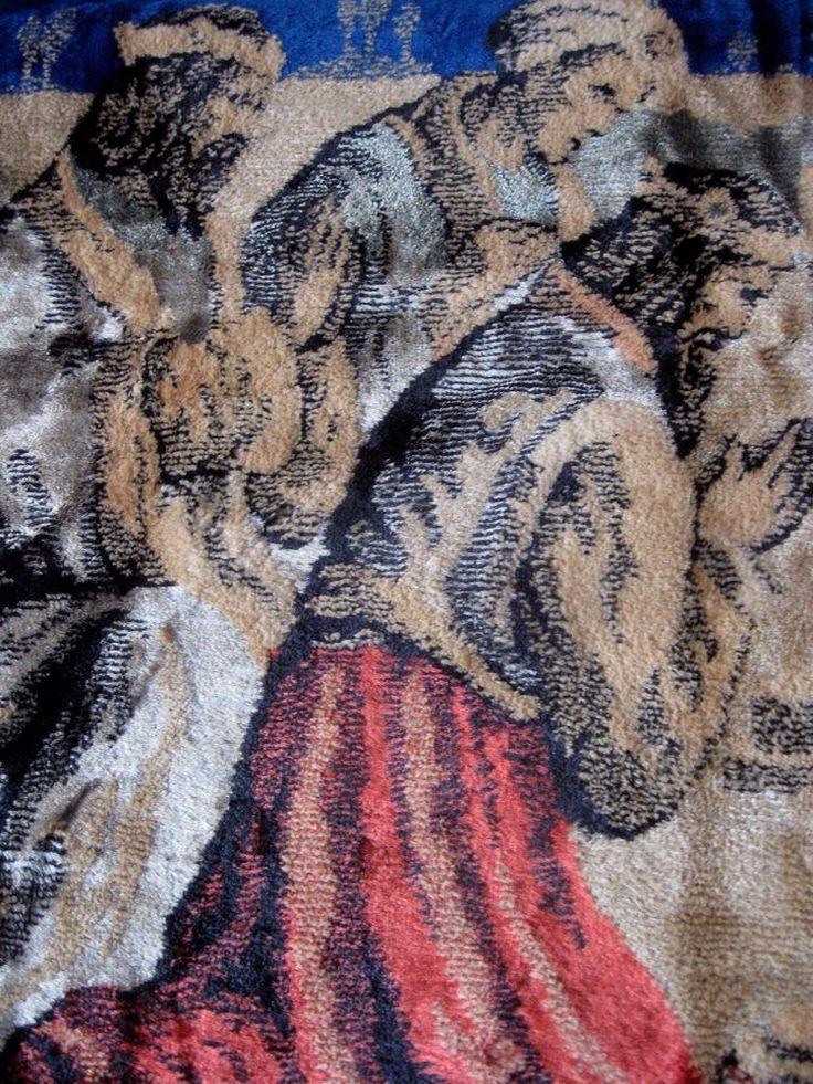 Christmas Tapestry Rug Wallhanging Nativity Scene Three Magi Blue Fringed