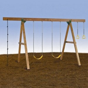 recruit some handy neighbors to help build this simple (?) swingset