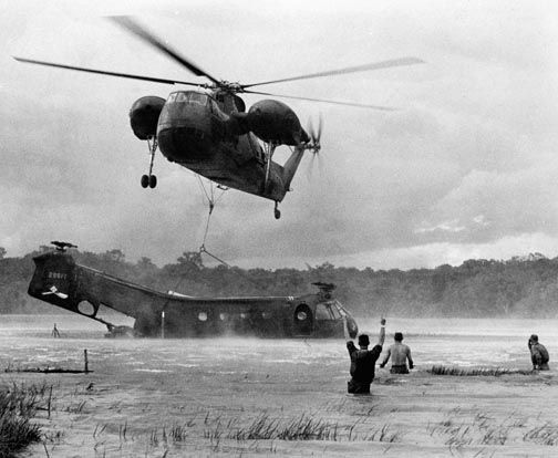 The Bitter End - November 1971 - Helicopter shot down over water, second helicopter drops a hoist hook.