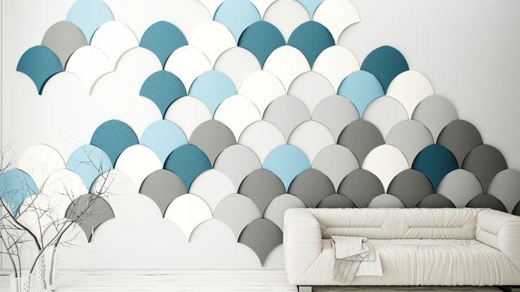 Pomysł na ścianę, aranżacja ściany w salonie z wykorzystaniem Fluffo - miękkich paneli ściennych 3D z Fabryki Miękkich Ścian. KOLEKCJA SHELL.
