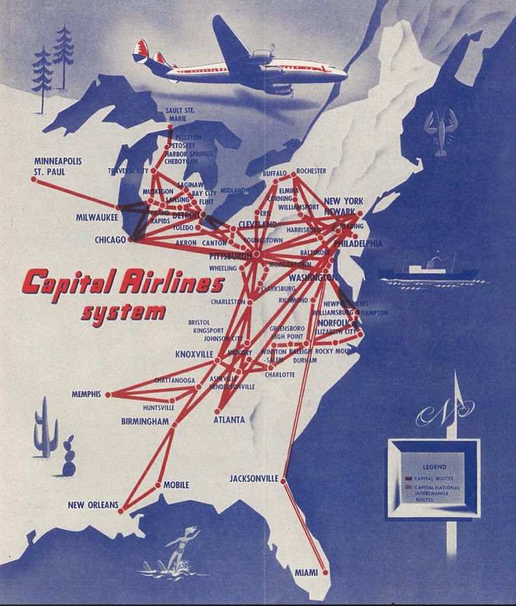 Capital Airlines 1940's route