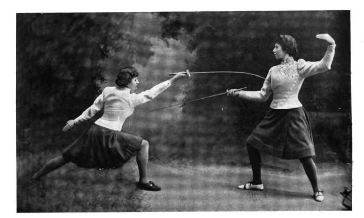 Photograph of two women fencing from Lady's Realm Magazine, Volume XII, 1902