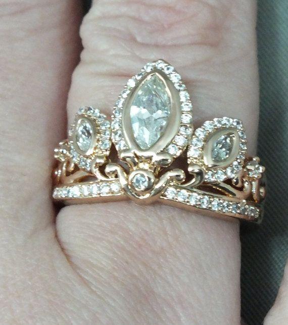 Rapunzel Rose Gold Tiara Princess Ring Tangled Crown by AOSDESIGN