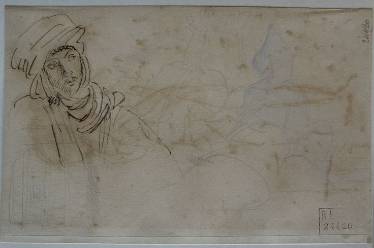 CHASSERIAU Théodore,1846 - Arabe à mi-corps - drawing.