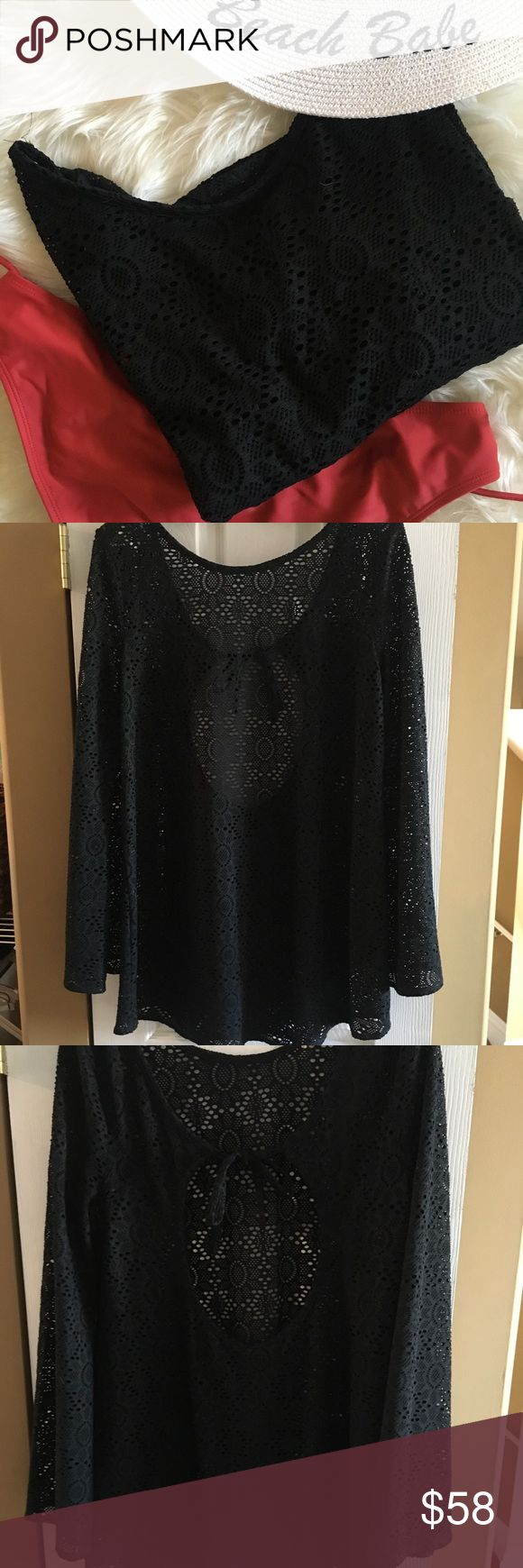EUC Black Roxy Bathing Suit Cover up Escaping the cold weather with a warm vacation 🏝☀️? Add this long sleeve Roxy black net bathing suit 👙 coverup. So cute with the tie in the back and the slight flare at the bottom. I believe I cut out the tag because it showed through. Please ask questions prior to purchase and Happy Poshing 🛍🍾 Roxy Swim Coverups