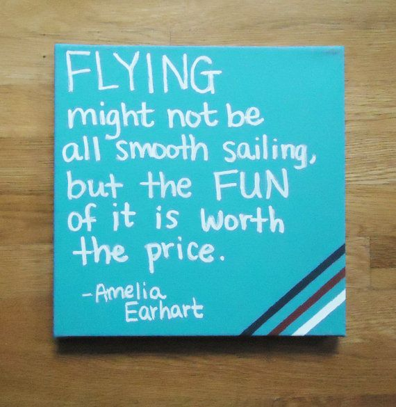 Flying Quotes: Flying Airplane Quote Painted On Canvas