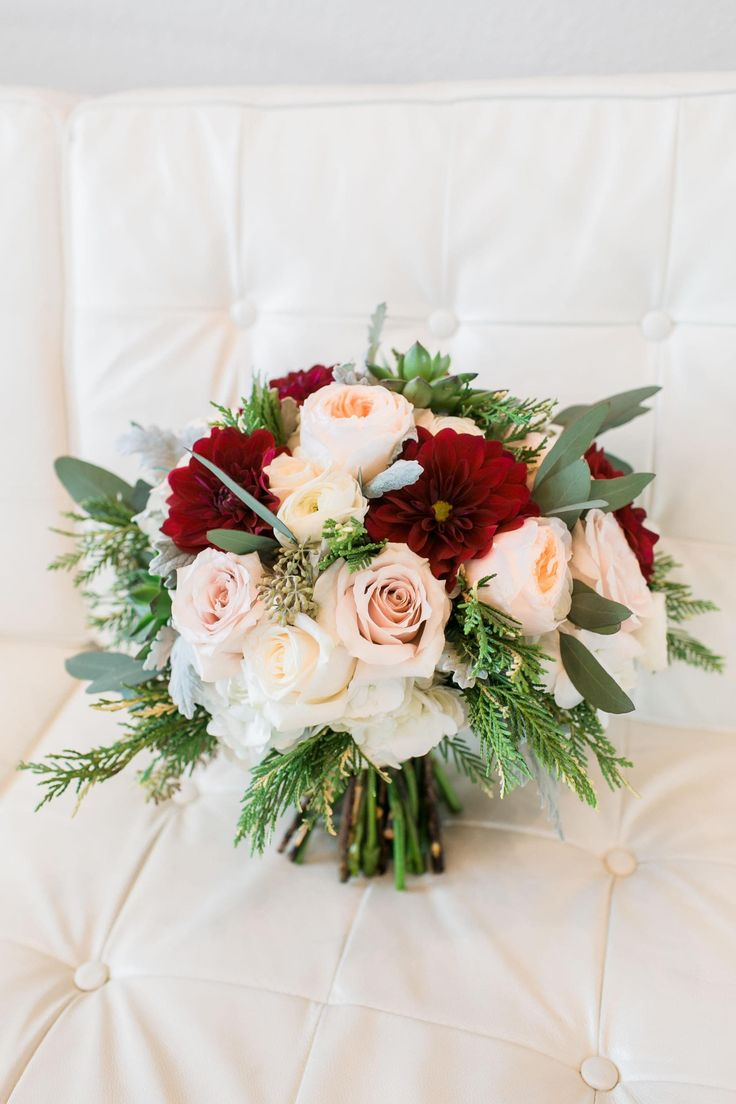 Wedding bouquet, peach Juliet garden rose, dusty pink rose, burgundy dahlia // Catherine Rhodes Photography
