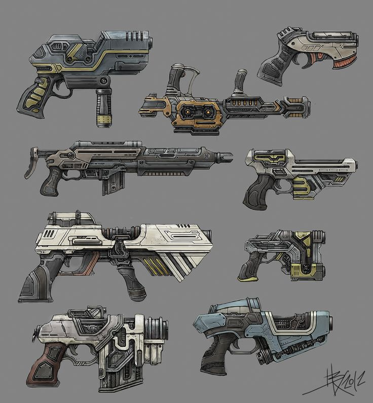 Blaisoid - Sci-fi gun concepts  This concept shows some really nice designs. I like the way he uses coulor to make each gun unique. (polycount 2012)