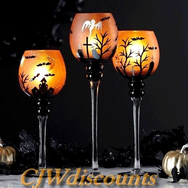 Halloween Set Of 3 Hand Painted Goblet Like Candle Holders