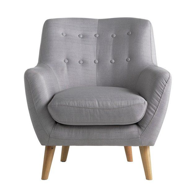 Buy Hygena Otis Fabric Chair and Footstool - Light Grey at Argos.co.uk - Your Online Shop for Armchairs and chairs, Living room furniture, Home and garden.