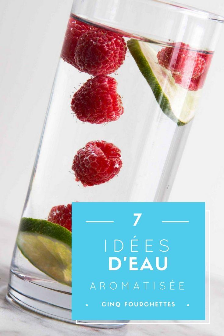 7 idées d'eau aromatisée ! Concombre, gingembre, framboise, bleuets, citron, lime, menthe ou mûre, tout est sain et délicieux !  À voir sur le blogue !  #eau #water #fruit #health #santé #boire #drink #légumes #veggie #eauaromatisée #infusedwater #flavored #infusé #thé #tea