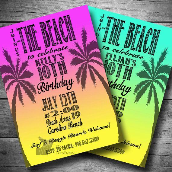Beach Party Invitation, Surfer Birthday Invite, Luau Invitation, Printable, Email or Text Invitation