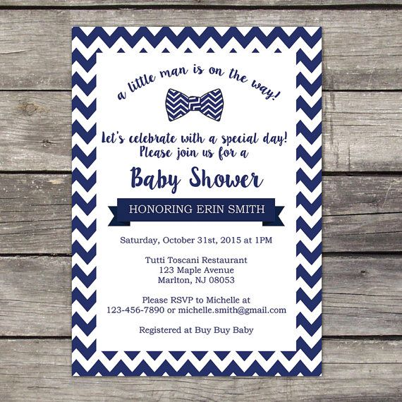 WE PRINT Little Man Baby Shower Invitations - Baby Boy Shower Invite - Bowtie Baby Shower - Printed Invitations 220