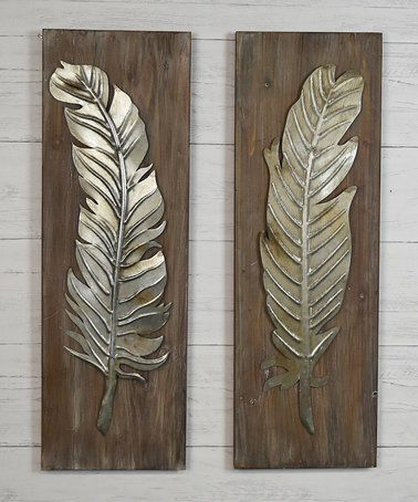 This Feather Tin Wall Décor - Set of Two is perfect! #zulilyfinds