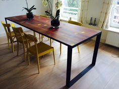 Homemade table with sports hall wood