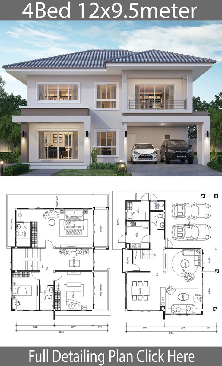 House design plan 12×9.5m with 4 bedrooms House de…
