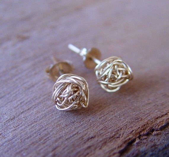 Gold Knot Stud Earrings Small Earring Wire Ball Post Studs