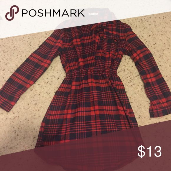 Long flannel shirt dress Red and black flannel shirt dress. Size says XXL but I believe it's Asian sizing so I'd say it fits more like a M/L. NWOT. Tops