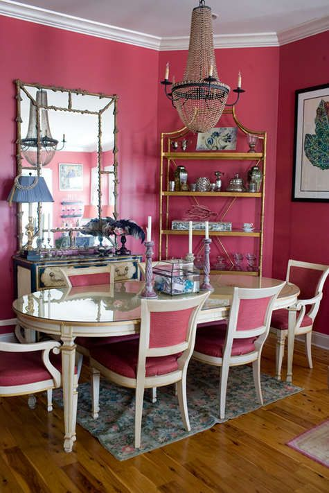 Pink Dining Room In The Home Of Photographer Corbin Lee Gurkin