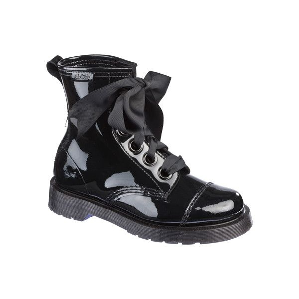 Dr Martens Grace Boot BLACK PATENT LAMPER - Doc Martens Boots and... ($150) ❤ liked on Polyvore
