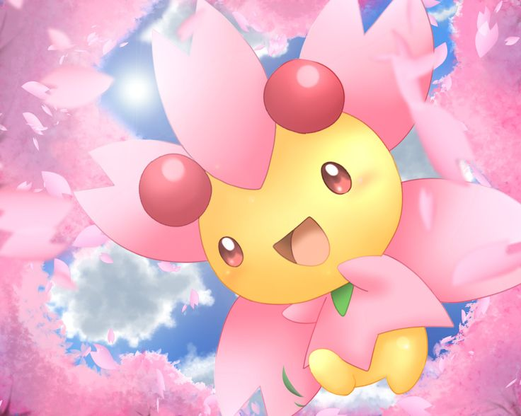 Cherrim sunny day mode pokemon grass cute wallpaper sakura tree