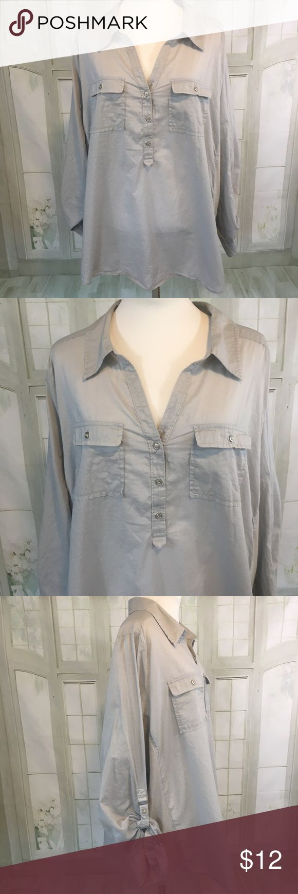"""Lane Bryant Size 26/28 Gray V Nick Tunic Lane Bryant Size 26/28 Gray V Nick Tunic. Excellent condition - no flaws. 100% Cotton with Stretchy material on the sides for Accentuating and optimal fit. Nice silver accent buttons. Pit to Pit 29"""". Length: 29"""" Lane Bryant Tops Tunics"""