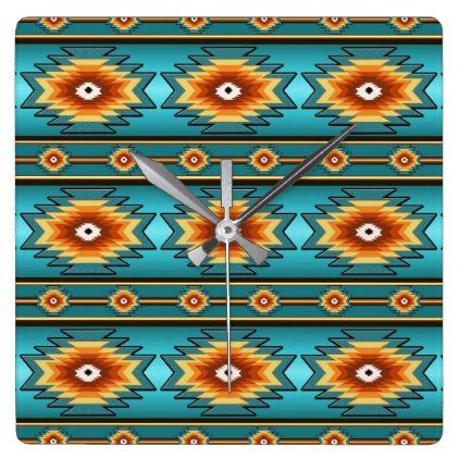 Southwestern navajo geometric  pattern. square wall clock - patterns pattern special unique design gift idea diy