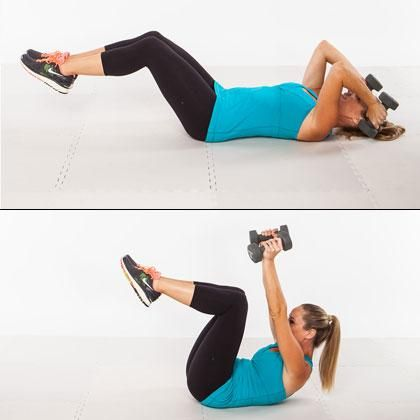 Triceps Crunch: This move targets your triceps and works the abdominal wall to give you both flat #abs and toned arms.