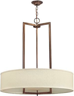 Mid-Century Chandelier with Linen Shade