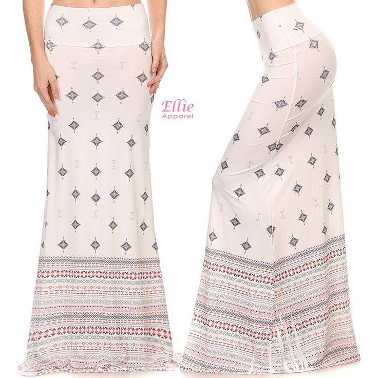 Tribal Aztec Cream Sublimation high waist fold over maxi long skirt S/M/L/XL #99Roses #Maxi