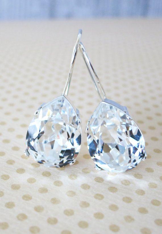 Simple Swarovski Crystal Teardrop Earrings, Clear Crystal Earrings, Silver plated, brides bridesmaid bridal simple earrings, by GlitzAndLove on Etsy, www.glitzandlove.com