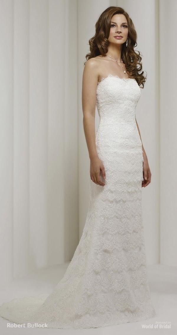 Strapless lace mermaid gown with border lace skirt.