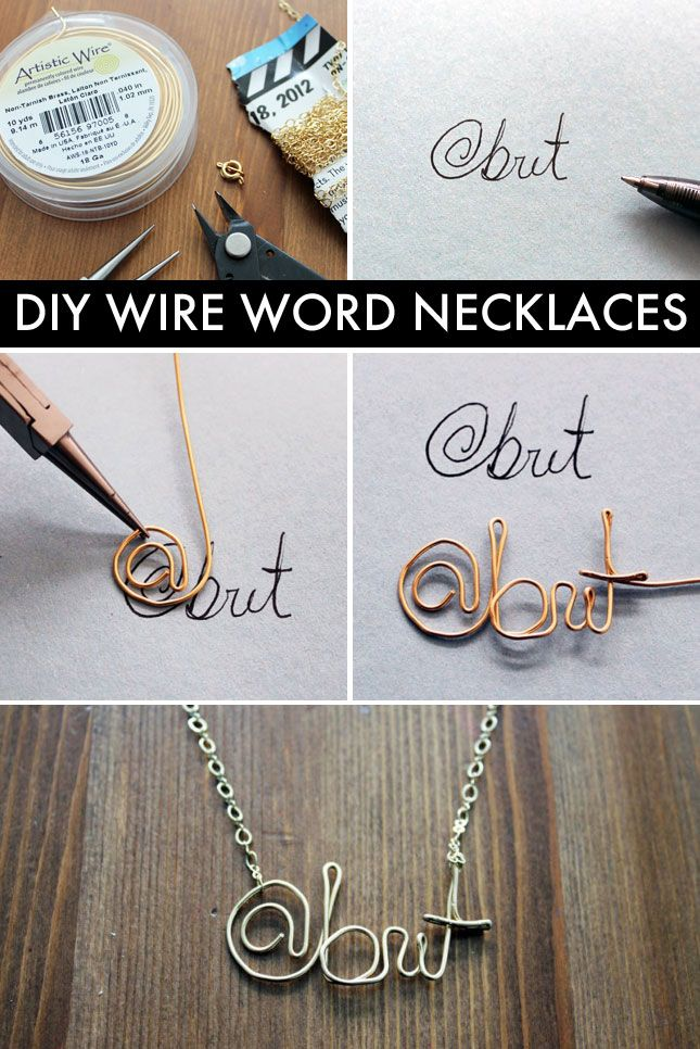 Easy tutorial for making wire name necklaces