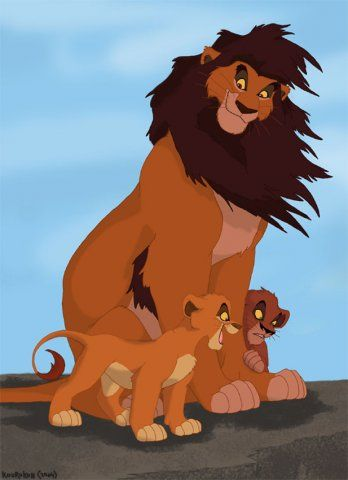 *AHADI with his cubs (MUFASA and TAKA / SCAR ~ The Lion King,