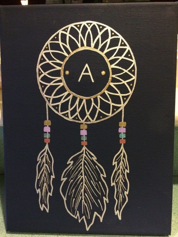 Initial Dream Catcher Canvas by CanvasesByJackie on Etsy