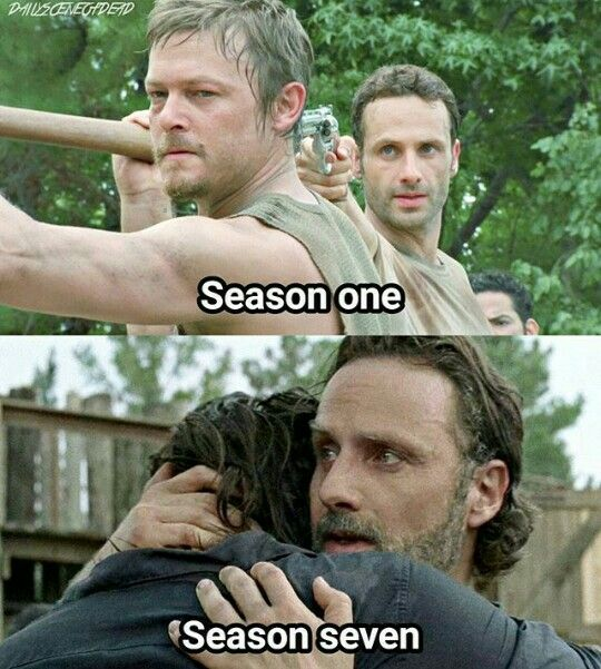 Rick and Daryl's relationship transformation and character development, season 1 to 7