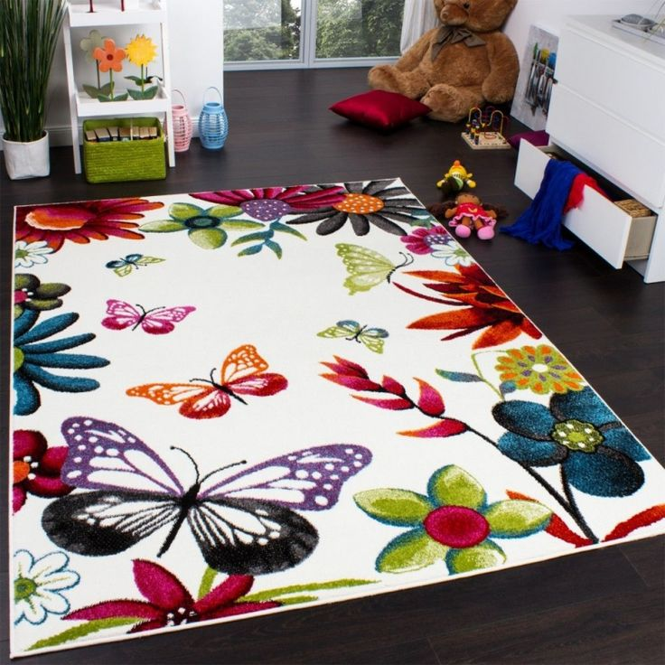 Vlinders design speelkleed speeltapijt wit - multi color