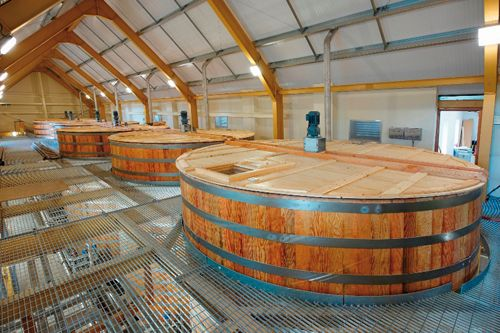 Inside the Glenlivet Distillery distillery in Scotland.