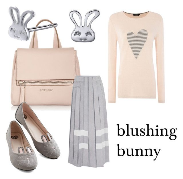 """Blushing bunny"" by lilithowl on Polyvore featuring Givenchy, Left Right Accessory, T.U.K., Oui, Fendi, Silver, Bunny, grey, blush and Rabbit"