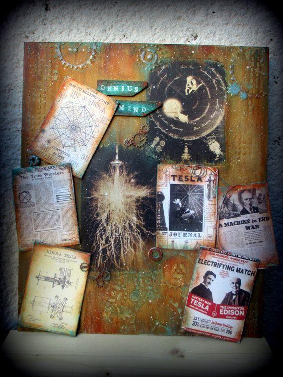 FREE SHIPPING Mix media painting: Nikola Tesla by LettersFromHelen
