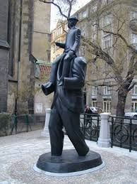 Kafka's statue in Prague. Find more about Kafka´s Prague at http://praguetravelconcierge.com/guide-to-franz-kafka-and-prague