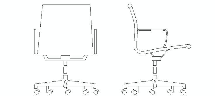 Silla oficina aluminium en alzado bloques autocad for Bloques autocad muebles