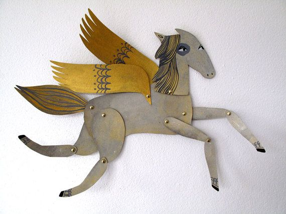 Winged Grey and Gold Horse Articulated Decoration by benconservato, $24.00