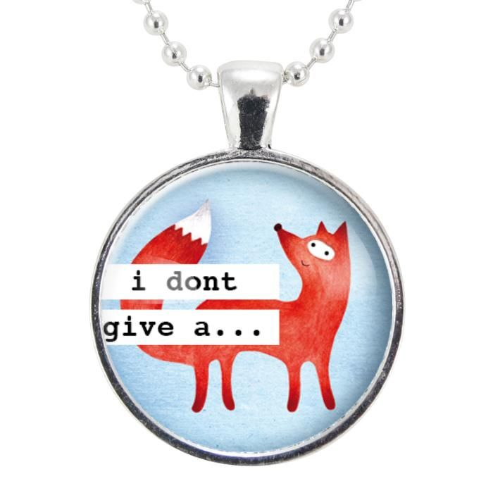 I Don't Give A Fox Necklace, Cute Gift Ideas For Girlfriend, Funny Gifs, Jewelry Gifts For Her, Animal Pendant...