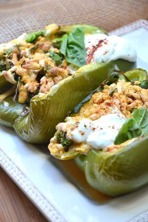 Grilled Spinach Stuffed Peppers - Vegetarian & Vegan Recipes
