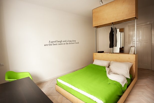 frontal view minimalistic bachelor room