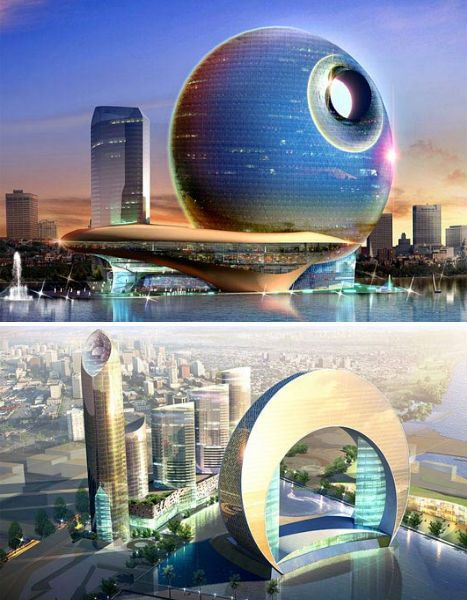 Designed for the Azerbaijani capital of Baku, the duo of futuristic structures are individually named Hotel Full Moon and Hotel Crescent. Their appearance changes drastically depending on the viewer's location.