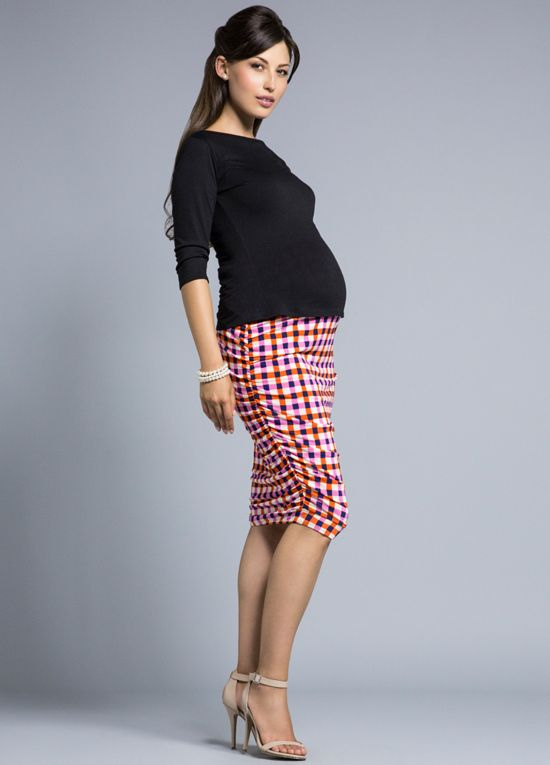 Queen Bee Picnic Pink Print Wiggle Maternity Pencil Skirt by Leota